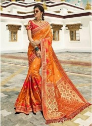 Light Orange Pure Banarasi Silk Saree