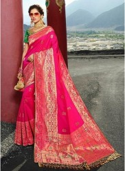 Pink Pure Banarasi Silk Saree
