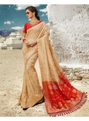 Cream Pure Banarasi Silk Saree