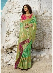 Lime Green Pure Banarasi Silk Saree