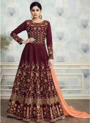 Maroon Mulberry Silk With Embroidery Ankle-Length Suit