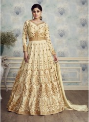 Cream Mulberry Silk With Embroidery Ankle-Length Suit