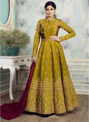 Olive Green Mulberry Silk With Embroidery Ankle-Length Suit