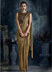 Dark Gold Imported Lycra Ready-To-Wear Saree