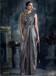 Dark Gray Imported Lycra Ready-To-Wear Saree