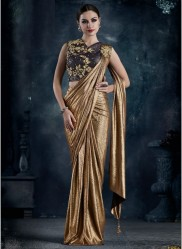 Dark Mustard Imported Lycra Ready-To-Wear Saree