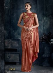 Dark Peach Imported Lycra Ready-To-Wear Saree
