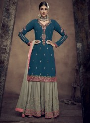 Sea Blue Faux Georgette With Heavy Embroidery Gharara-Bottom Salwar Suit