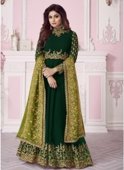 Dark Green Real Georgette Ankle-Length Salwar Suit