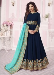 Dark Navy Blue Real Georgette Ankle-Length Salwar Suit