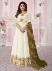 Off White Real Georgette Ankle-Length Salwar Suit