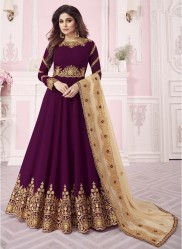 Dark Magenta Real Georgette Ankle-Length Salwar Suit