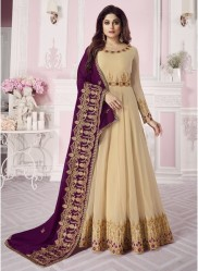 Cream Real Georgette Ankle-Length Salwar Suit