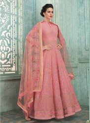 Peach Heavy Georgette Lakhnavi Work Ankle-Length Salwar Suit
