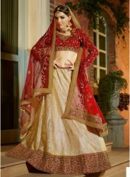 Dark Red & Soft Beige Jacquard Light Embroidery Lehenga Choli
