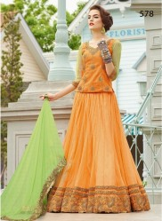 Persimmon Silk Light Embroidery Lehenga Choli