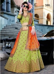 Lime Green Silk Light Embroidery Lehenga Choli