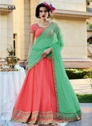 Dark Peach Soft Net Light Embroidery Lehenga Choli