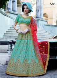 Light Sea Blue Silk Light Embroidery Lehenga Choli