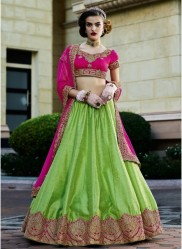 Magenta & Light Green Silk Light Embroidery Lehenga Choli