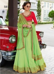 Red & Light Green Soft Net Light Embroidery Lehenga Choli