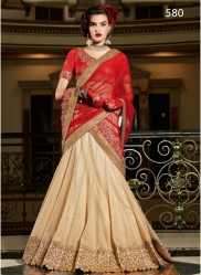 Red & Light Beige Net Light Embroidery Lehenga Choli