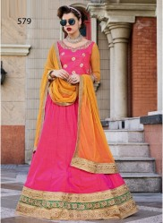 Pink Silk Light Embroidery Lehenga Choli