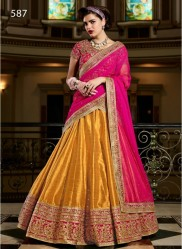 Pink & Dark Mustard Silk Light Embroidery Lehenga Choli