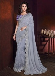 Gray Saree With Digital Skirt And Crystal Work Wedding Saree