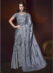 Gray Satin With Zardosi Work Wedding Saree