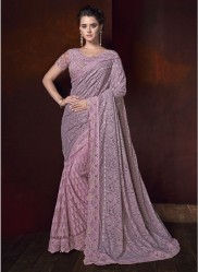 Light Purple Lucknowi With Net Skirt And Diamond Heavy Work Wedding Saree