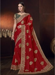 Red Satin With Zardosi Work Wedding Saree