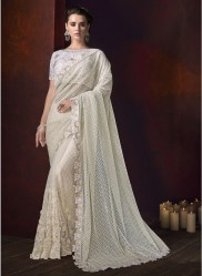 Off White Zari Pallu And Moti Diamond Work Wedding Saree