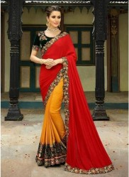 Red & Orange Georgette With Heavy Designer Embroidery Saree