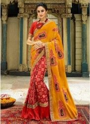 Orange & Red Georgette With Heavy Designer Embroidery Saree