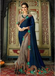 Dark Blue & Gray Georgette With Heavy Designer Embroidery Saree