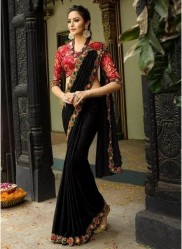 Black Georgette With Heavy Designer Embroidery Saree
