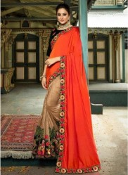 Persimmon & Beige Georgette With Heavy Designer Embroidery Saree