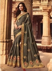 Olive Green Silk With Heavy Embroidery Saree