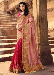 Pink Silk With Heavy Embroidery Saree