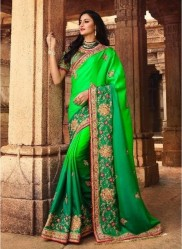 Lime Green Silk With Heavy Embroidery Saree