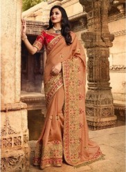 Burlywood Silk With Heavy Embroidery Saree