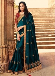 Dark Teal Blue Silk With Heavy Embroidery Saree