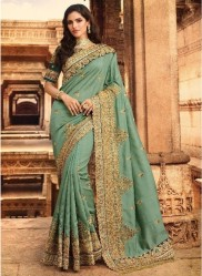Mint Silk With Heavy Embroidery Saree