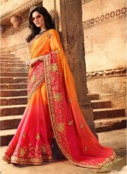Orange Silk With Heavy Embroidery Saree