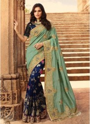 Dark Blue Silk With Heavy Embroidery Saree