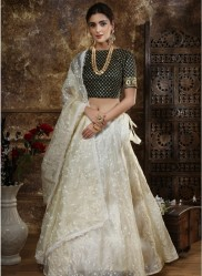 Off White Organza Silk Lehenga Choli