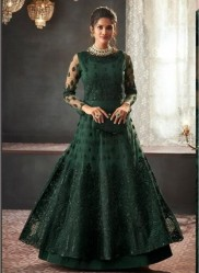 Dark Green Net With Can Can Salwar Suit