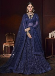 Blue Net With Heavy Diamond Work Bridal Lehenga Choli