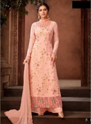 Salmon Viscose Georgette Salwar Suit